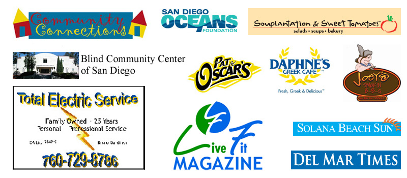 Del Mar TV Sponsors include: Community Connections, San Diego Oceans Foundation, Souplantation & Sweet Tomatoes Restaurant, The Blind Community Center of San Diego, Pat & Oscars Restaurant, Daphne's Greek Cafe, Joey's Smokin' BBQ, Total Electric Service, Live Fit Magazine, Solana Beach Sun, and the Del Mar Times